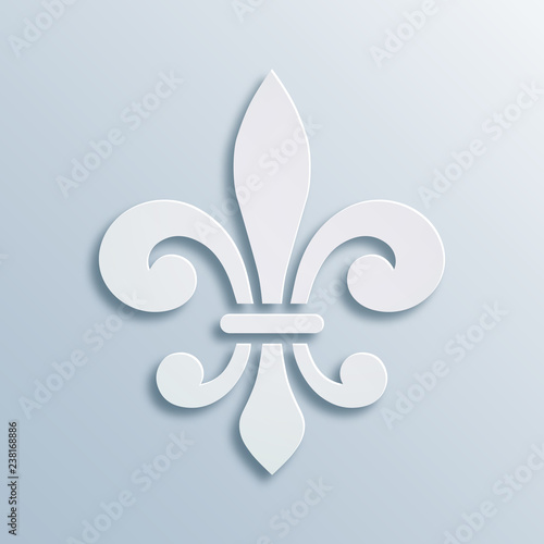 Fleur De Lis Background Symbol Of French Heraldry Paper Style