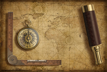 Old medieval world map with compass and spyglass. Adventure and travel concept. 3d illustration.