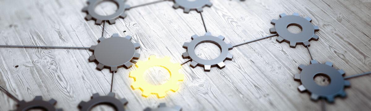 Database gears concept 3d rendering