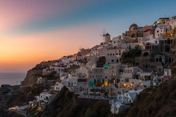 Colorful Sunset At Oia Village , Santorini