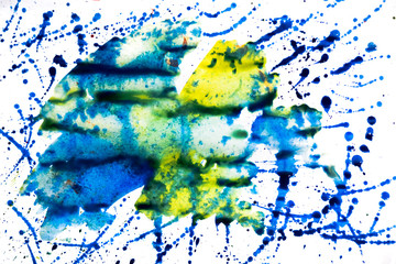 multi-colored splashes of watercolor and stains. background for design