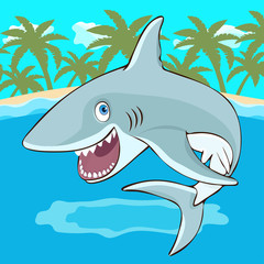 Shark jumps out of the water cartoon character, vector illustration, caricature. Colorful painted cute funny fish shark with open mouth and smile on the background of the beach, sea, palm trees