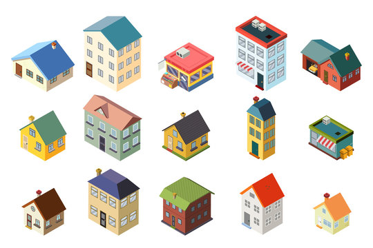 House street isometric icons set flat design concept vector illustration