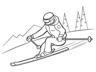 Skier at the ski resort. Winter entertainment. Vacation. Vector illustration.