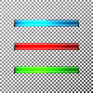 Three modern glossy, glass loading bars with blue, red and green colors. Vector illustration.