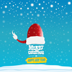 vector red Santa hat with greeting text Merry Christmas and happy new year on blue background with snow and snowflakes. Cartoon merry christmas card, banner or xmas background. vector illustration