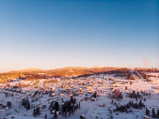 Sheregesh panorama, Kemerovo, Russia, Aerial view drone mountains and forest