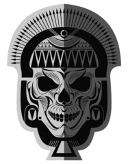 Decorative black and white ancient maya skull memorable art for sticker, tattoo or t-shirt printing