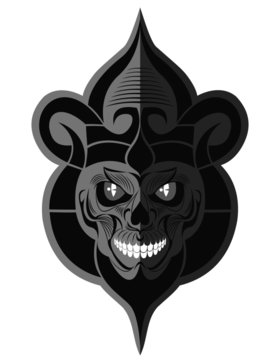 Decorative black and white evil skull with white teeth flat paper memorable art for sticker, tattoo or t-shirt printing