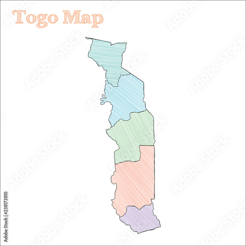 Togo hand-drawn map. Colourful sketchy country outline. Decent Togo on