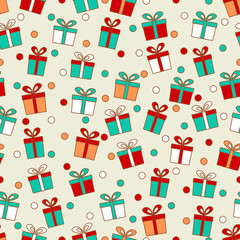 Seamless pattern with the image of gift boxes and confetti.