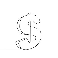 Dollar symbol sign isolated on white background. Continuous line drawing style.
