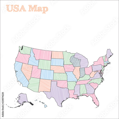 USA hand-drawn map. Colourful sketchy country outline. Exotic USA ...