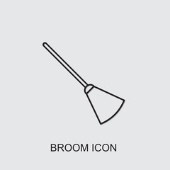 broom icon . Editable line broom icon from cleaning. Trendy broom icon for web and mobile.