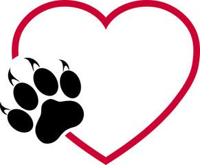 Katzenpfote und Herz, Pfote, Katzen, Logo