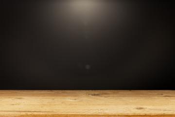 black background light wooden table