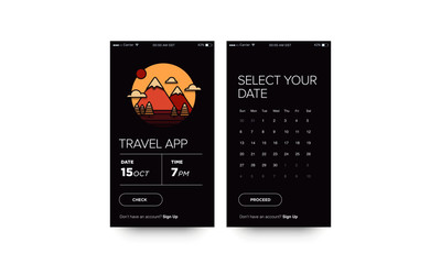 Travel App with Hills Mountains With Trees Clouds and Sun UX and UI For Phone Screen