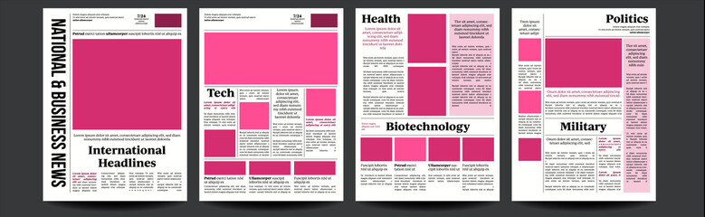 Newspaper Vector. Abstract News Template. Blank Page Spaces For Images. Breaking. Illustration