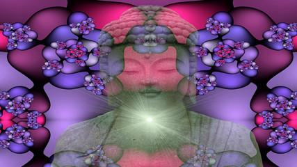 Buddha and fractal pattern
