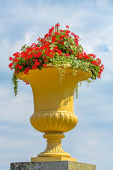 Large yellow ornate flowerpot with flowers