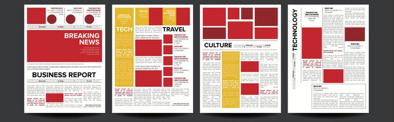 Newspaper Vector. Headlines, Text Articles, Images. World News Economy Headlines. Tabloid. Breaking. Illustration