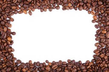 Frame of coffee beans isolated on a white background.