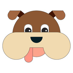 Dog head in cartoon flat style.