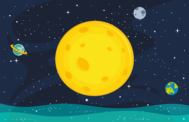 Vector Illustration Of Moon Background