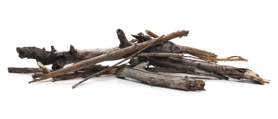 Poster Firewood texture Dry branches for camp fire, isolated on white background