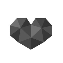 Vector Illustration of Polygonal Black Heart Symbol, Low Poly Icon Design