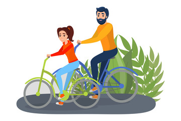 Couple ride bike in the park. Man and woman