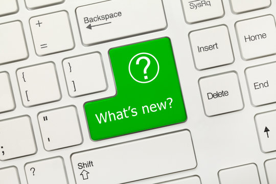 White conceptual keyboard - What is new (green key)