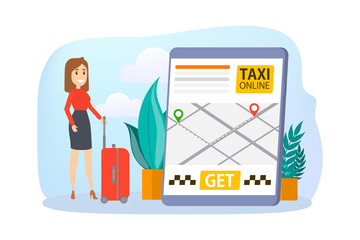 Taxi booking online. Order car in mobile phone