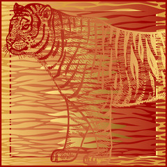 Print with Tiger fur stripes and tiger close-up.