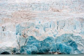 Nordenskiöldbreen glacier in summer near Pyramiden on the coast of Billefjord at Svalbard.