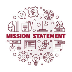 Vector Mission Statement round red minimal illustration in thin line style