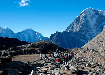 Everest Base camp trek can get busy at times. The path to Everest Base camp is one of the most popular in Nepal, and can thus get very busy, especially in the October peak hiking season.