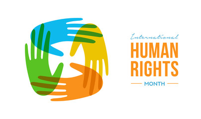 Wall Mural - Human Rights Month card of diverse people hands