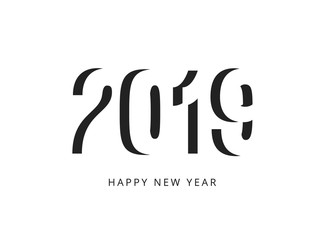 Happy new 2019 year sign. Black negative space vector logo on white background.