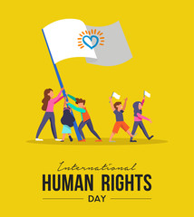 International Human Rights card of people parade