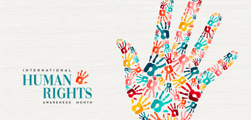 Human Rights card of colorful people hand prints