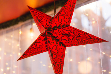 Decorative Red and Black Star