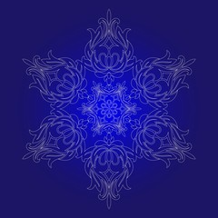 Isolated outline of the ornament in the form of a mandala. Vintage mandala, elements in floral style.