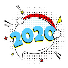 2020 happy new year christmas comic pop art speech bubble vector illustration. Colorful pop art style sound effect. Halftone, vintage comic sound effects isolated on white background.