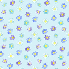 Seamless pattern with watercolor hand drawn violet and blue flowers on light blue background. Background can be easily change for another color