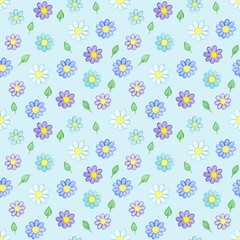 Seamless pattern with watercolor hand drawn violet and blue flowers and green leaves on light blue background. Background can be easily change for another color