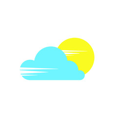 Sun and cloud icon sign flat style design vector illustration isolated on white background. Sunny and cloudy day!