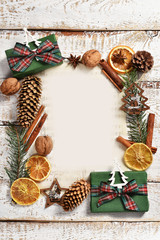 christmas  background with frame on white wooden board