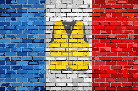 Flag of France with yellow vest on a brick wall - Illustration, Symbol of the protest movement against the French government