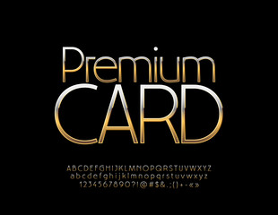 Vector Golden label Premium Card. Vip luxury Font. Thin Elegant Alphabet Letters, Numbers and Symbols.